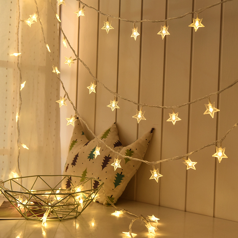 LED Star Fairy Lights Garland Curtain Lamp Remote Control USB String Wedding Decoration Lights Window Christmas Decorations