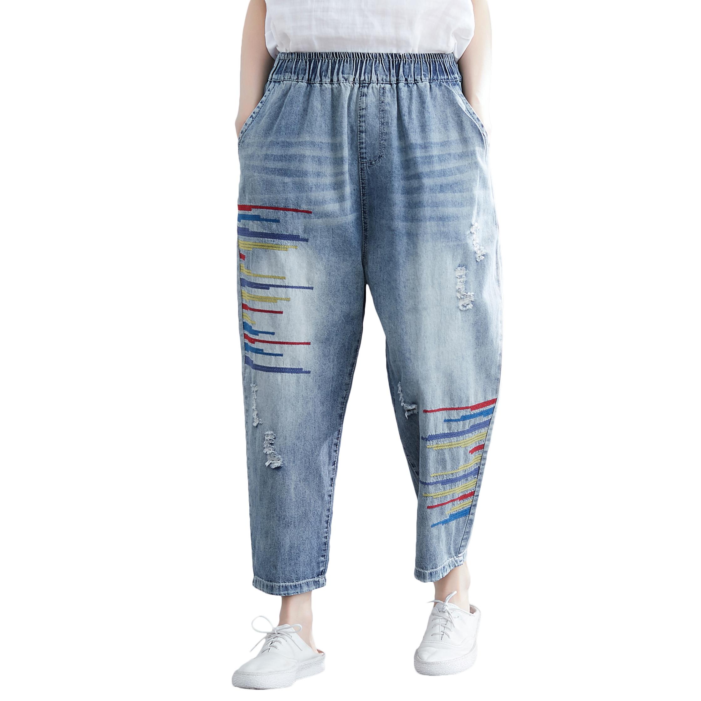 Hole Casual Jeans Women Spring Summer Elastic Waist Loose Vintage Denim Harem Pants Large Size Casual Pants Women's Clothing AH2