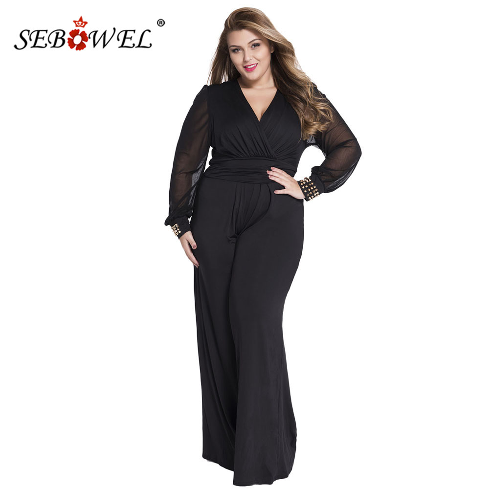 SEBOWEL Rivet Cuff Long Sleeves Mesh Wrapped   Jumpsuit   Woman Spring Autumn Female Casual Long One-piece   Jumpsuit   Plus Size S-XXXL