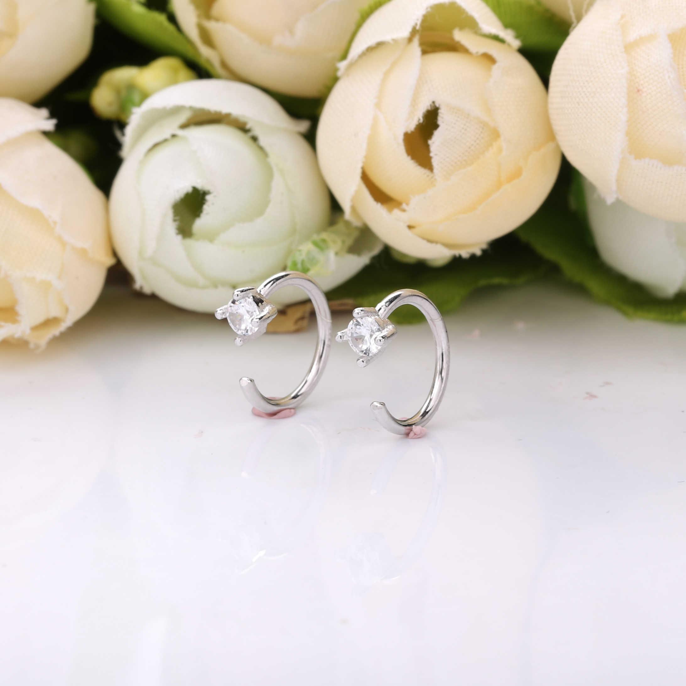 Moonmory regalo de Navidad 925 Plata de Ley Clip en pendientes para mujeres plata 925 joyería pendientes de Clip sin Piercing