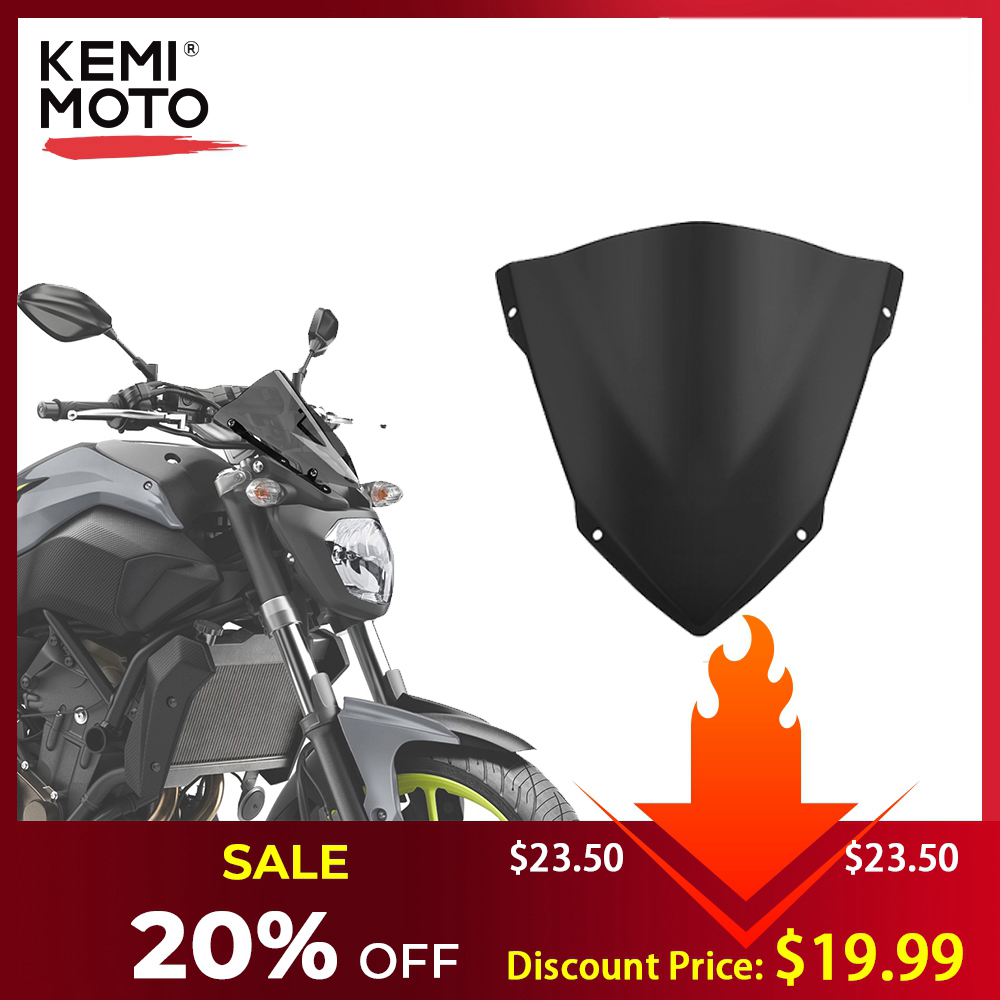 KEMiMOTO For YAMAHA MT07 MT-07 Windshield WindScreen For FZ07 2014 2015 2016 2017 Wind Deflectors Motorcycle Accessories