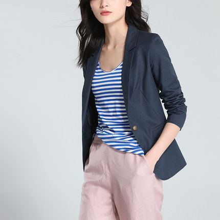 Office Blazers Ladies Blue New Spring Long Sleeve Cotton Linen Single Button Suit Women Jacket Basic Tops LX1422