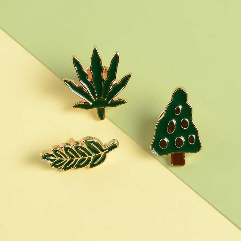 สีเขียวใบ Enamel PIN Simple Maple Leaf เข็มกลัด Badge เสื้อผ้ากระเป๋าเป้สะพายหลังแจ็คเก็ต Lapel PIN เครื่องประดับธรรมชาติของขวัญผู้หญิงผู้ชาย