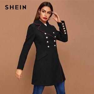 Image 4 - SHEIN Black Lapel Collar Gold Button Detail Contrast Piping Coat Winter Long Sleeve Elegant Outwear Long Pea Coats