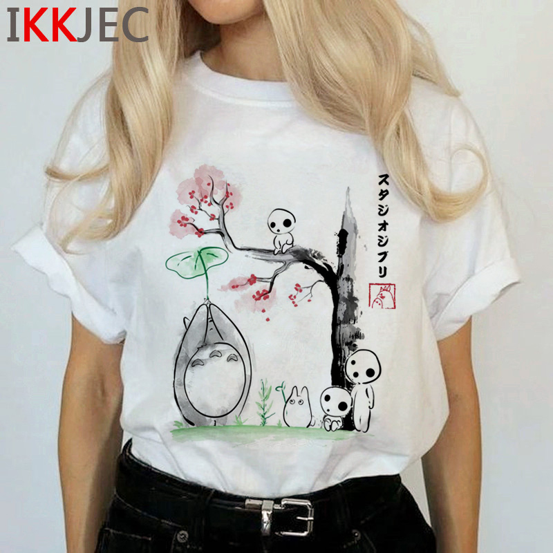 Totoro Harajuku Studio Ghibli T Shirt Women Miyazaki Hayao Ullzang Cute T-shirt Funny Cartoon Tshirt 90s Graphic Top Tees Female 5