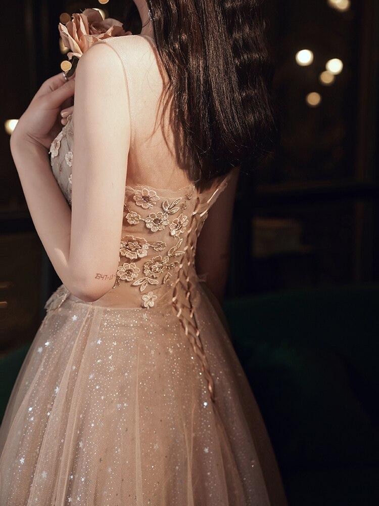 Long Evening Dresses 2020 Prom Gowns Robe De Soiree Tulle Appliques Abendkleider 2020 Lace Up Back вечерние платья