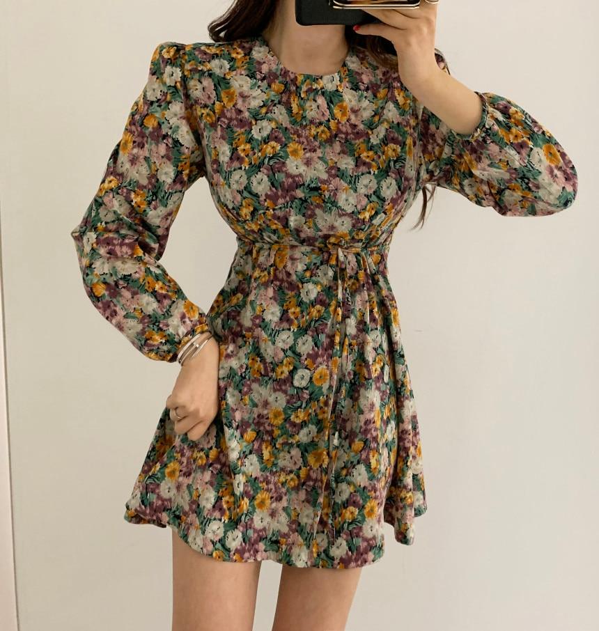 Ha91591f3d1374257939290c53b6903d7K - Spring Korean O-Neck Long Sleeves Floral Print Drawstring Slim Mini Dress