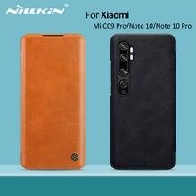 For xiaomi mi note 10 case NILLKIN Vintage Qin Flip Cover wallet PU leather PC back cover For xiaomi mi note 10 pro / mi cc9 pro