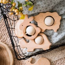 Let's Make Baby Toys 1pcs Wooden Car Beech Wooden Blocks Cartoon Educational Montessori Toys For Children Teething Baby Teethers