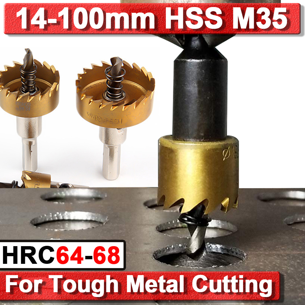 HSS-Co-M35 Drill Bit Hole Saw Cutting Stainless Steel Metal Alloy Cutter 14 15 16 42 55 65 80 100mm Stainless Steel Cutting D30