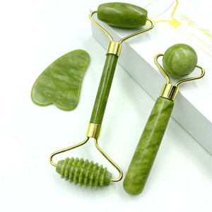 Natuurlijke Jade Massage Roller Guasha Board Spa Schraper Stone Facial Anti-Rimpel Behandeling Body Facial Massager Gezondheidszorg Gereedschap(China)