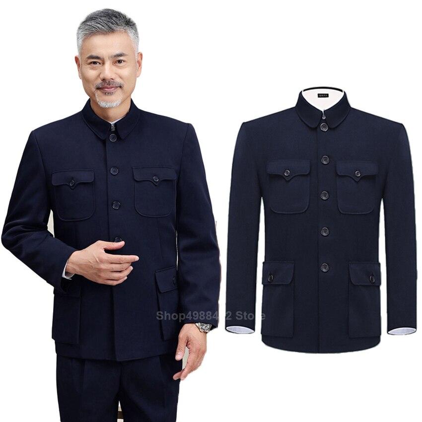 Costume traditionnel chinois Tang pour hommes veste manteau nouvel an printemps Festival tunique Zhongshan Mao costume Blazer poches à tricoter haut