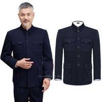Traditionellen Chinesischen Tang Anzug für Männer Jacke Mantel Neue Jahr Frühling Festival Tunika Zhongshan Mao Anzug Blazer Stricken Taschen Top