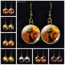Black Cat Dangle Earrings Pumpkin Lantern and Photo Glass Cabochon Eardrop for Women Halloween Jewelry Gift