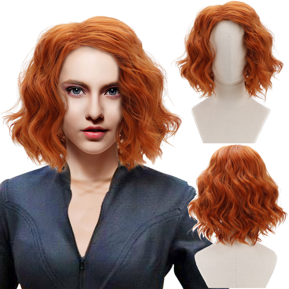 Comic Movie Black Widow Thor Loki Orange Short Wavy Cosplay Synthetic Hair Wigs for Women Girls Party Costume Halloween