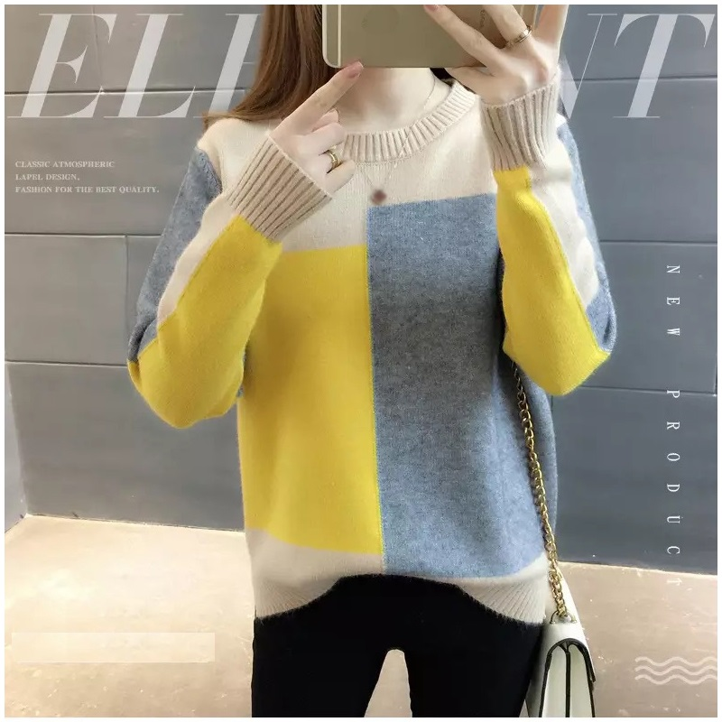 2019 New Girls Knitted Sweaters Spring Contract Candy Colors O-Neck Pullover Jumpers Tops Outwear Basic Thermal Layer Shirt