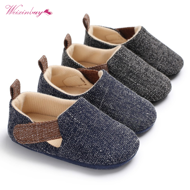 WEIXINBUY Fashion Dark Blue Grey Baby Boy Shoes Infant First Walkers Nonslip Hard Sole Toddler Baby Shoes 0-18M