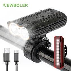 Newboler 2400 Lumen Xe Đạp Bộ 5200 MAh USB Sạc 18650 Pin Xe Đạp Đèn Pha Xe Đạp Chống Thấm Nước Đèn Pin Đèn Gắn Xe Đạp
