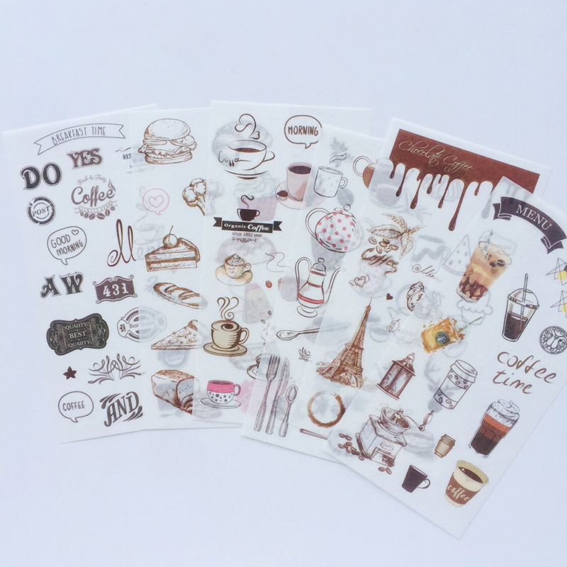 6 Sheets /Pack Coffee House Washi Paper Decorative Stickers Hand Account Decor