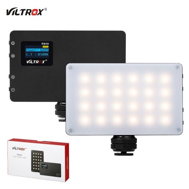 Viltrox luz de led portátil, luz de preenchimento de luz embutida para vídeo rb08 2500k 8500k bateria para câmera de celular estúdio de tiro