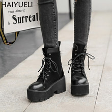 Bottines Femme Lace Up Round Toe Platform Boots Women Casual Black Ankle Boots Punk Rock Martens Boots Women's Shoes Fall Boots(China)