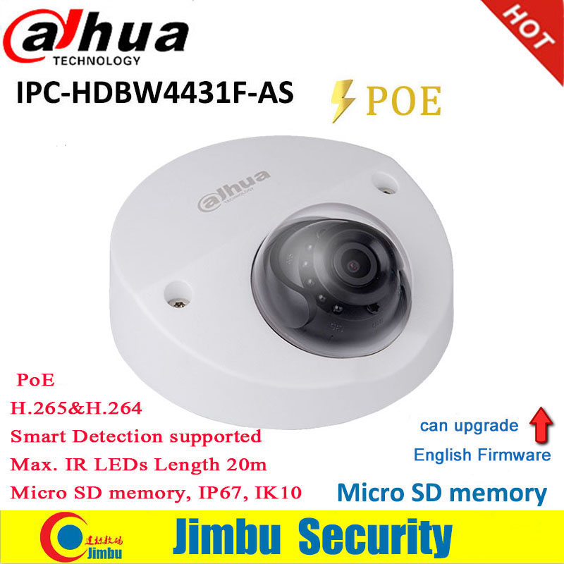 Dahua 4MP IP Camera Mini Dome IPC-HDBW4431F-AS IR20m IP67 support IK10 POE Micro SD memory CCTV camera Smart Detection supported
