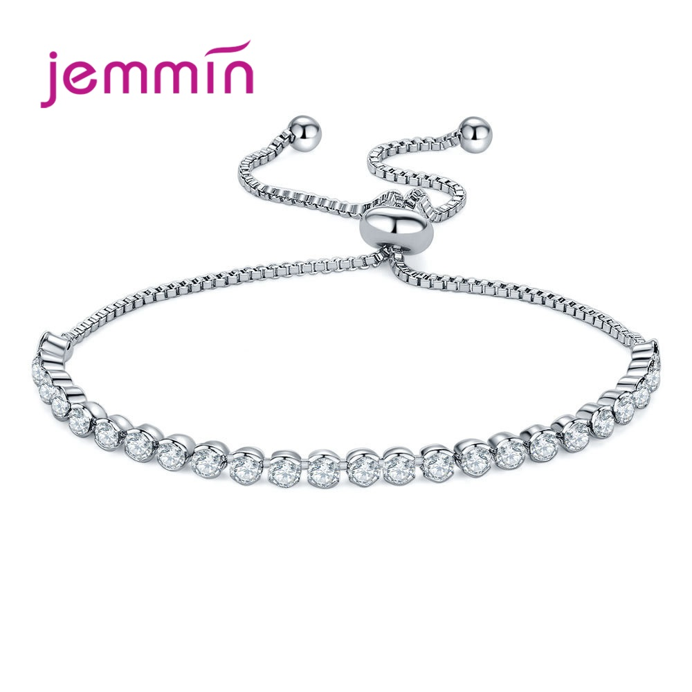 Luxury 925 Sterling Silver Sparkling AAA Cubic Zirconia Bracelets Adjustable Chain Friendship For Women Party Jewelry