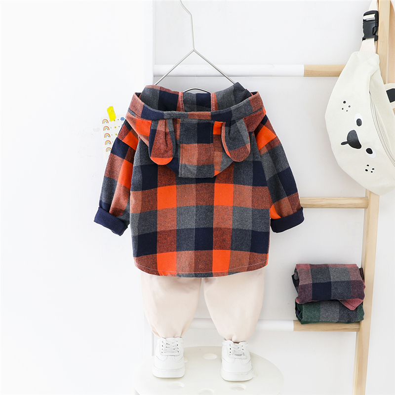 HYLKIDHUOSE 2020 Spring Boys Clothing Sets Baby Cartoon Plaid Shirt Casual Pants Toddler Infant Clothes Children Kids Clothing