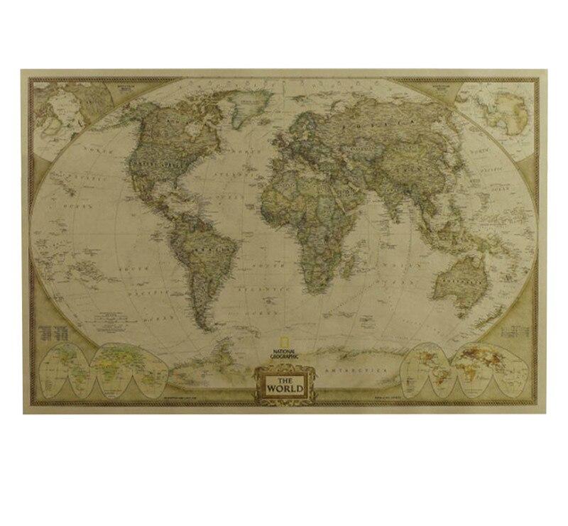 28*18 дюймов Размер Большой Античный Мир карта поставки Ретро бумага диаграмма настенная матовая карта мира подробный плакат из крафт-бумаги