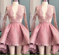 Gray Pink Lace Short Cocktail Dresses 2020 Puffy Lady Formal Party Dress Sexy Deeep V neck Prom Gowns Robe De Cocktail