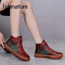 Women Shoes Platform-Boots Ankle Winter Genuine-Leather Johnature with Hook Loop Loop