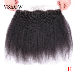VSHOW Yaki Lace Frontal Closure Pre Plucked 13x4 Ear To Ear Lace Frontal Remy Brazilian Swiss Lace Kinky Straight Frontal(China)