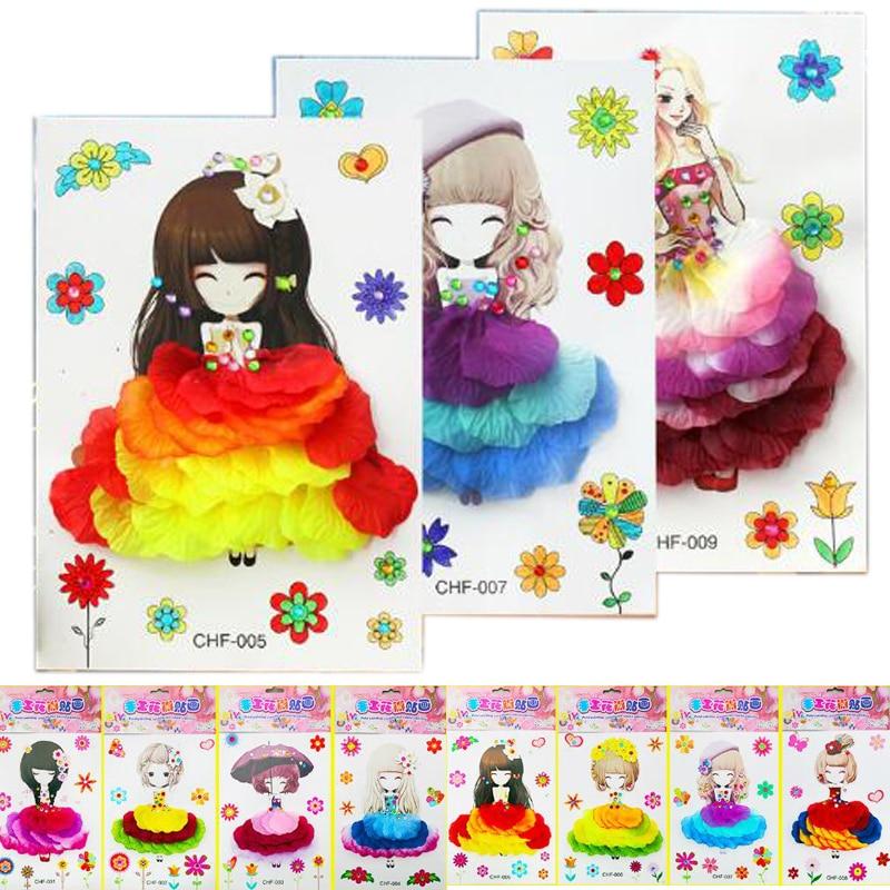 Pintura Handmade Da Flor das crianças Crianças DIY Criativo Merlot Decorativos Brinquedos Interativos Brinquedos Puzzle Pintura Artesanal Pétala