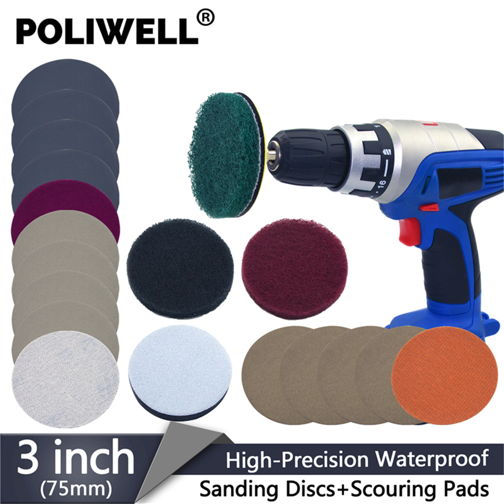 POLIWELL 3 Inch DIY Car Headlights Polishing Restoration Kit Automotive Lights Polishing Headlamp Repair Set For Electric Drill