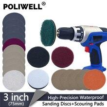 Poliwell 3 Polegada kit de reparo de farol de carro, conjunto diy de luzes de polimento, restauração, luzes automotivas, polimento, lâmpada de farol, para broca elétrica