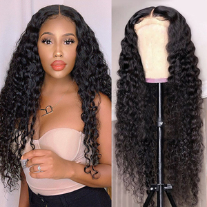 Aircabin 30 Inch 6x1 Middle Part HD Lace Front Wigs Deep Wave Glueless Brazilian Remy Human Hair Wigs For Women Natural Color