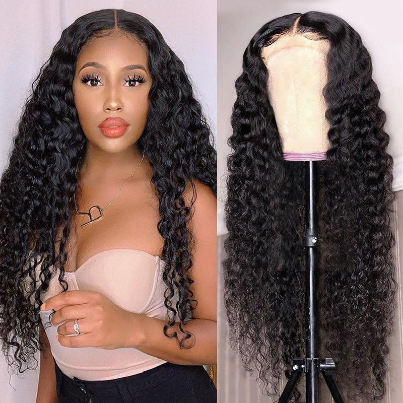 Onda profunda 30 Polegada 6x1 hd t parte do laço perucas de cabelo humano aircabin glueless parte média brasileira remy perucas para a cor natural feminina