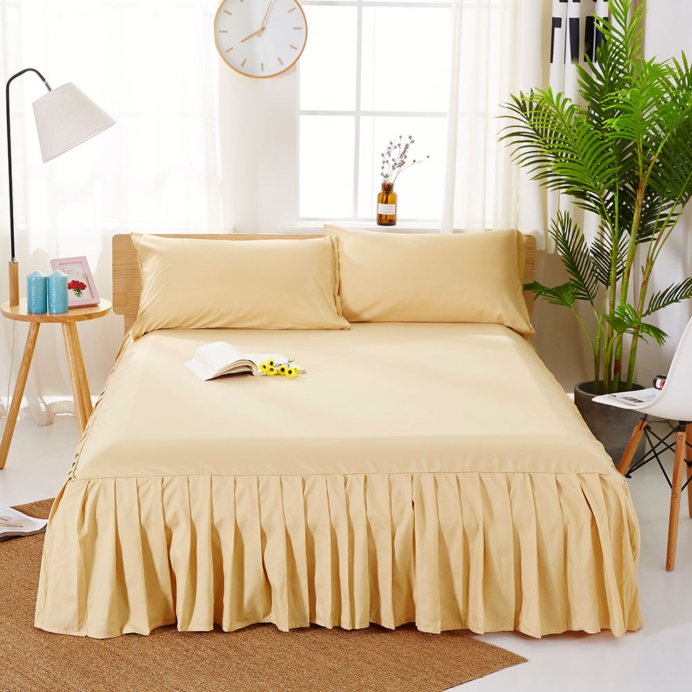 1pc Sanding Bedspread Solid Color Fitted Sheet Cover Soft Non-Slip King Queen Bed Skirt Protector Bed Mat Cover 1.2m/1.5m/1.8m 13