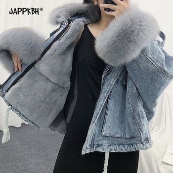Oversized Faux Fur Lining Collar Pie Overcome Denim Womens Jacket Thick Warm Winter Coat Female Vintage Loose Pocket Parkas