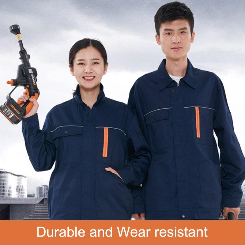 Men Women Work Uniforms Coat Work Clothing Sets Unisex Breathable Jackets+Pants Long Sleeve Factory Repair Mechanic Protection