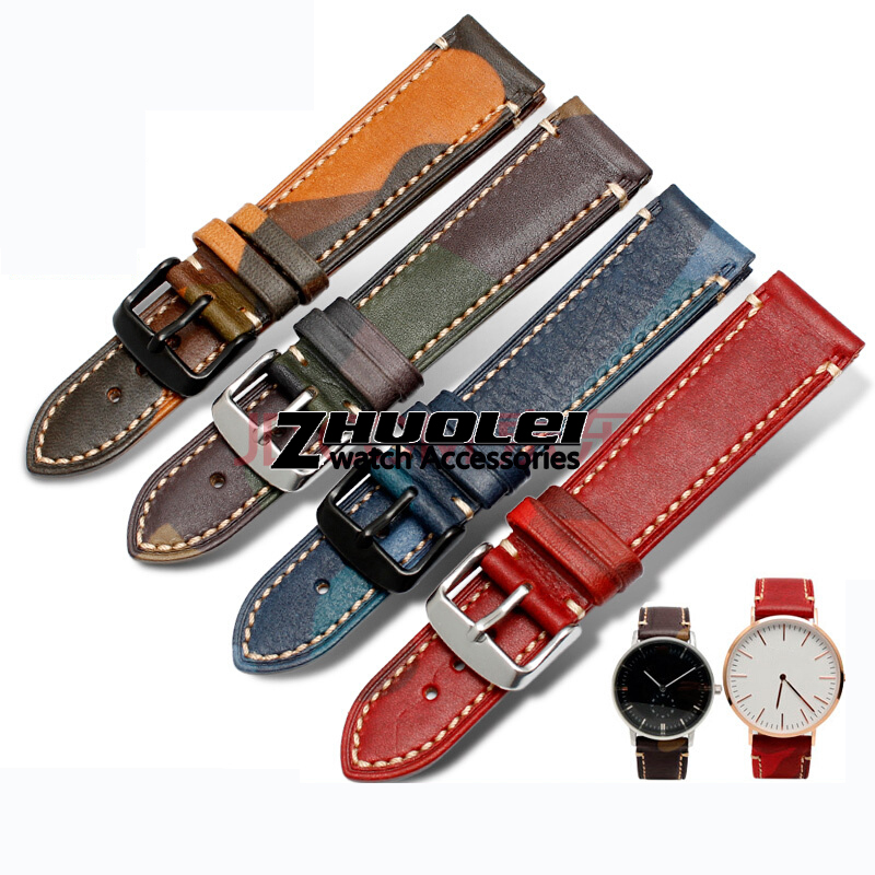 Wholesale Prices Cowhide Watchbands Women Men Camouflage Vintage Genuin Leagher Watch Band Strap 18mm 19mm 20mmm 22mm