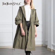 TWOTWINSTYLE Autumn Women's Windbreaker Hooded Half Sleeve Drawstring Zipper Female Trench