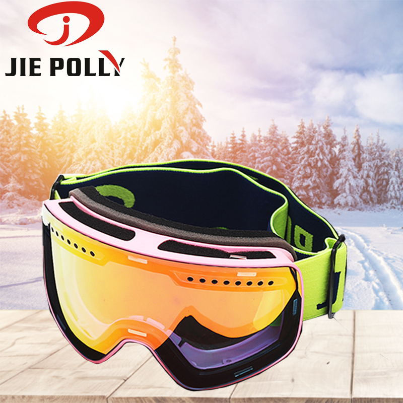 Jiepolly Magnet Ski Goggles Brand Winter Snow Sports Snowboard Goggles Anti-fog UV Protection Snowmobile Spherical Skiing Mask