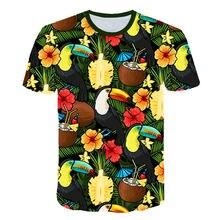 2019 nova flor de verão t camisa masculina/feminina sexy camisa havaiana streetwear folha impressão 3d camiseta legal dos homens roupas casuais topos