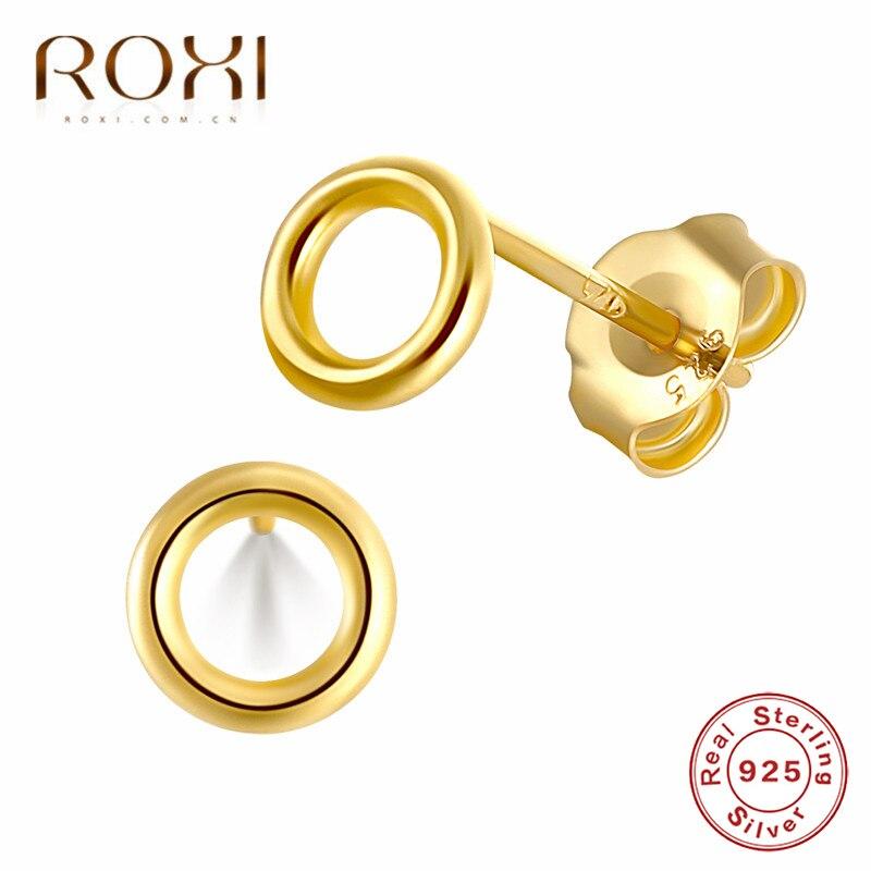 ROXI Fashion Minimalist Jewelry Punk Geometric Round Circle Stud Earrings for Women 925 Sterling Silver Hollow Small Earrings