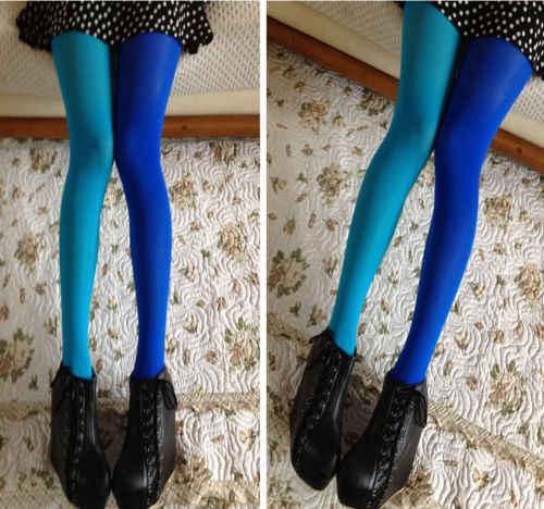 ผู้หญิง Patchwork ถุงน่อง Pantyhose ถุงน่องยืดหยุ่นสองสีผ้าไหมถุงน่องขาผอม Collant เซ็กซี่ Pantyhose