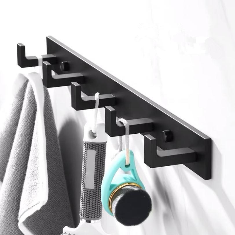 Bathroom Space Aluminum Robe Hook Wall Mounted Clothes Coat Hook Wall Hanger Black Bathroom Accessories