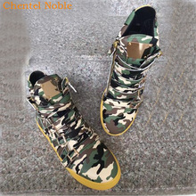 Casual Shoes Zip-Sneakers Flats Male Camouflage Men Metal-Decoration Comfortable Big-Size