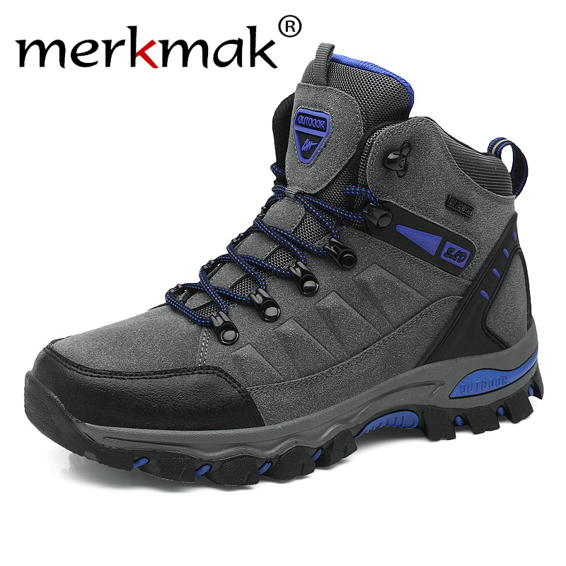 Merkmak Hot Sale Winter Boots Men Shoes Waterproof Outdoor Snow Boots Fur Warm Casual Men Shoes Non Slip Couple Sneakers image