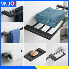 Bathroom Stainless Steel Towel Holder Black Towel Rack Hanging Holder Double Towel Bar Ring Coat Hook Rack Toilet Paper Holder stainless steel towel bar sets brushed gold towel holder towel rack hanging holder toilet paper holder coat hook bathroom shelf